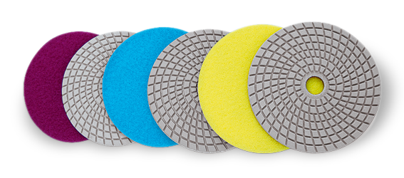 Flexible diamond pads for grinding and polishing of marble and granite. Manufactured by Mark Corporation, Chennai, India.