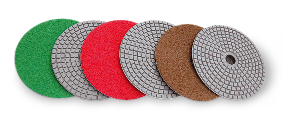 Flexible polishing diamond pad for wet polishing of granite and marble.